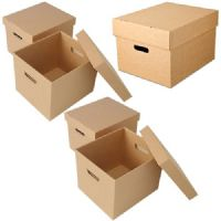 Brown Archive Boxes with Separate Lids